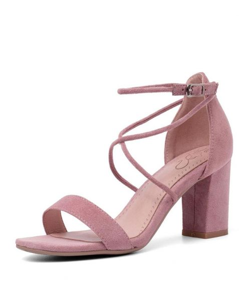 Beak Avenue Suede Ankle Strap High Heels Sandals