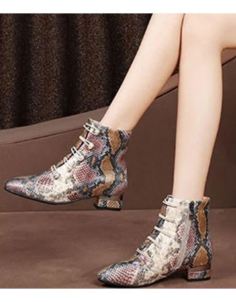 Catriona - Leather Snakeskin Ankle Boots