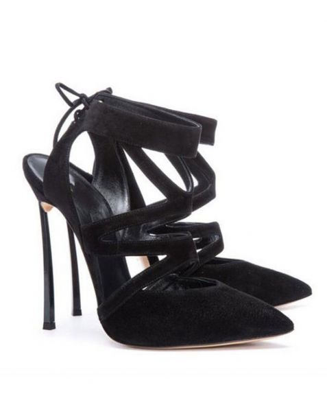 Galesburg - Black Stilettos Ankle Strap High Heels Sandals