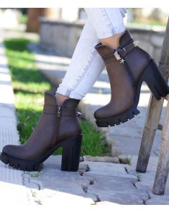 Violetta Brown - Brown Leather Fashion Ankle Boots