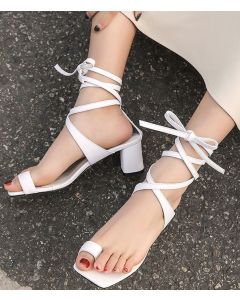 Kate - Leather Cross Strap Low Heels Sandals